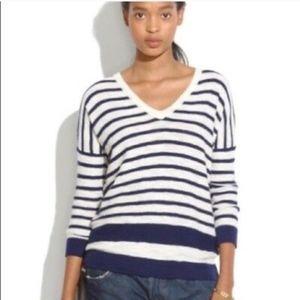 MADEWELL Slub V-Neck Sweater in Stripeblock XS